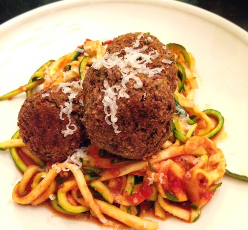 "Zucchini ""noodles"" with Italian bean ""meatballs"""