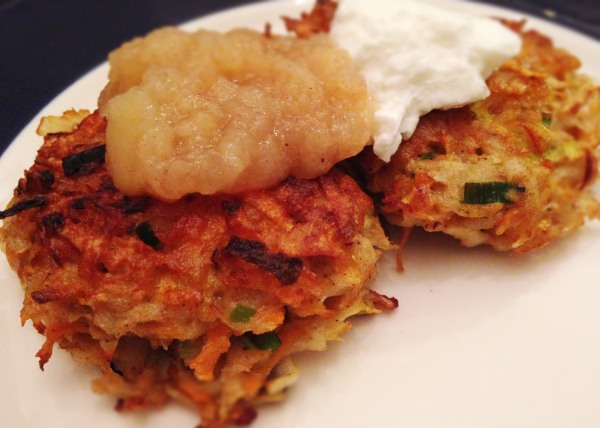 Root vegetable latkes with homemade applesauce and Greek yogurt